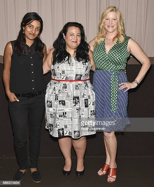 Director Meera Menon moderator Jenelle Riley and actress Anna Gunn and attend the QA of 'Equity' at Sundance Cinema on August 5 2016 in Los Angeles...