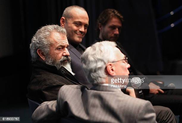 Director Mel Gibson Actors Vince Vaughn and Luke Bracey and Medal of Honor recipient Col Jack Jacobs participate in a QA panel discussion at the...