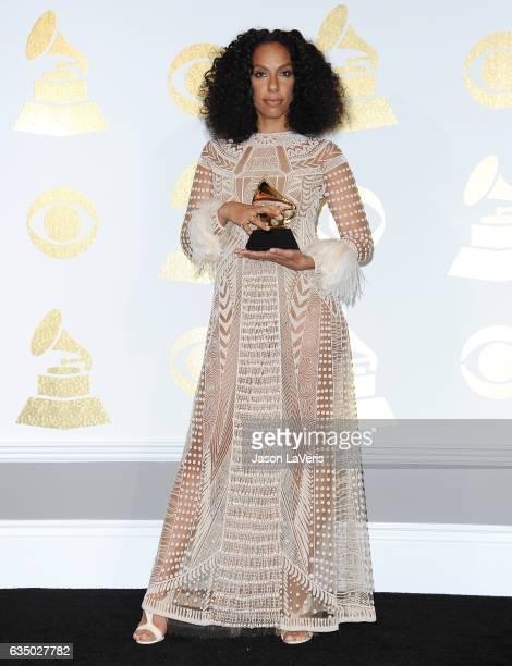 Director Melina Matsoukas poses in the press room at the 59th GRAMMY Awards at Staples Center on February 12 2017 in Los Angeles California