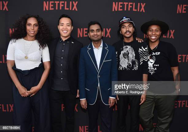 "Director Melina Matsoukas, producer Alan Yang, actor Aziz Ansari, writer Aniz Ansari and actress Lena Waithe attend Netflix's ""Master Of None"" For..."