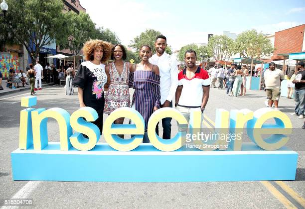 Director Melina Matsoukas Yvonne Orji executive producer and star Issa Rae Jay Ellis and Executive producer Prentice Penny attend a block party...