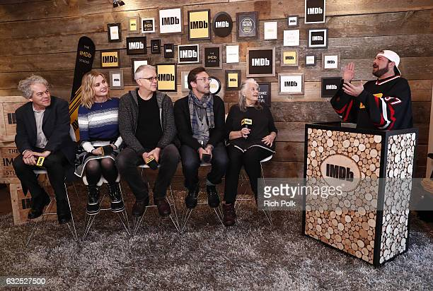 Director Michael Almereyda actors Geena Davis Tim Robbins Jon Hamm and Lois Smith of 'Marjorie Prime' speak with Kevin Smith at The IMDb Studio...
