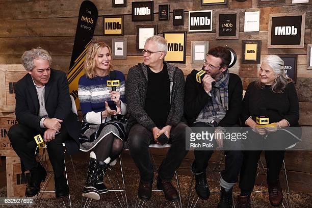 Director Michael Almereyda actors Geena Davis Tim Robbins Jon Hamm Lois Smith of 'Marjorie Prime' attend The IMDb Studio featuring the Filmmaker...