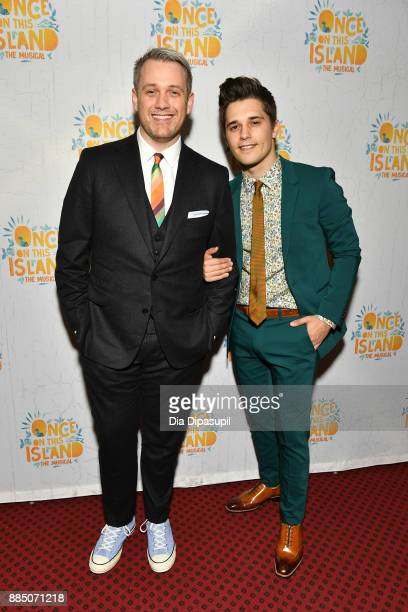 Director Michael Arden and husband Andy Mientus attend the 'Once On This Island' Broadway Opening Night at Circle in the Square Theatre on December 3...