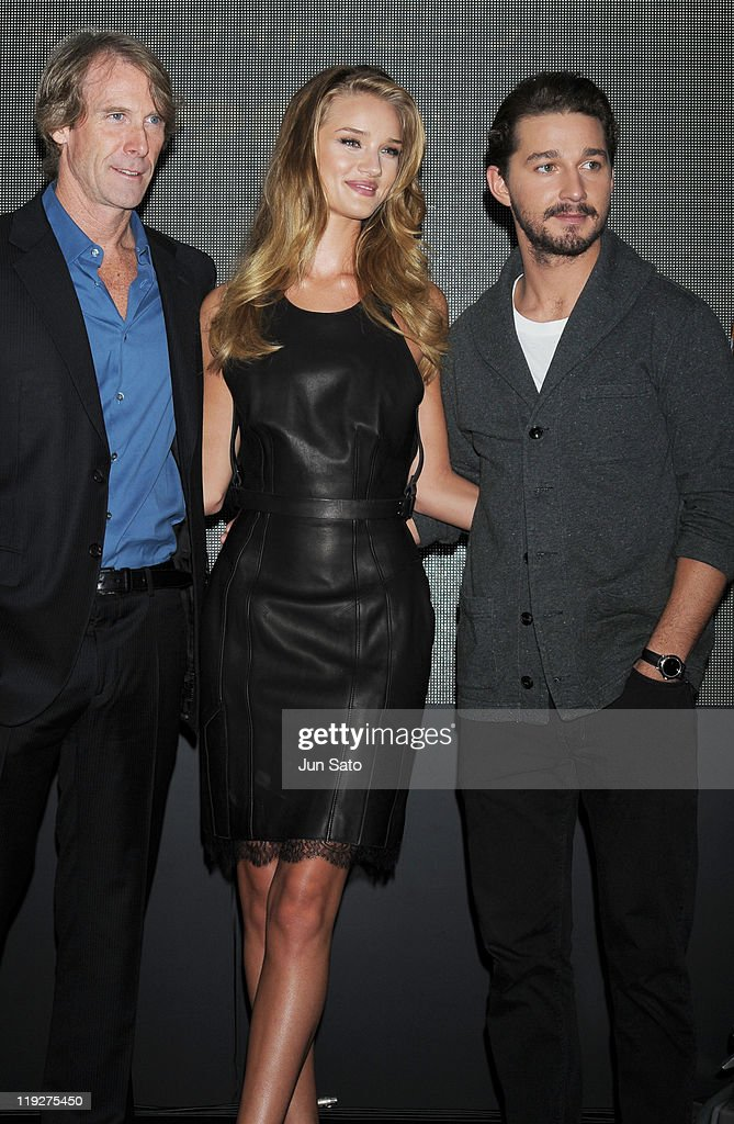 Director Michael Bay, actress Rosie Huntington-Whiteley and actor Shia LaBeouf attend the 'Transformers: Dark of the Moon' press conference at the St. Regis Hotel Osaka on July 16, 2011 in Osaka, Japan. The film will open on July 29 in Japan.