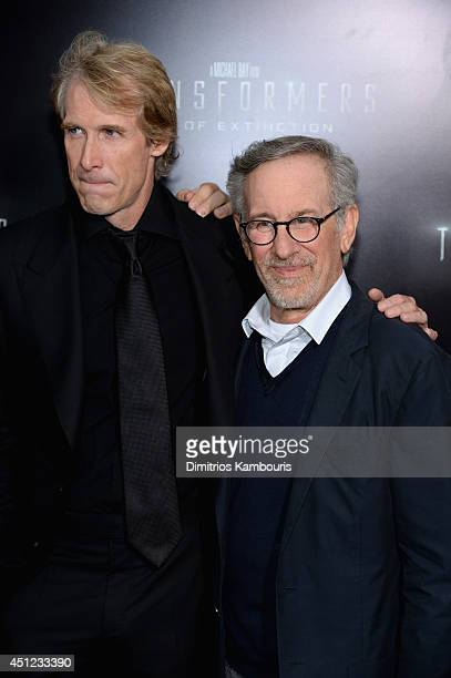 Director Michael Bay and executive producer Steven Spielberg attend the New York Premiere of Transformers Age Of Extinction at the Ziegfeld Theatre...