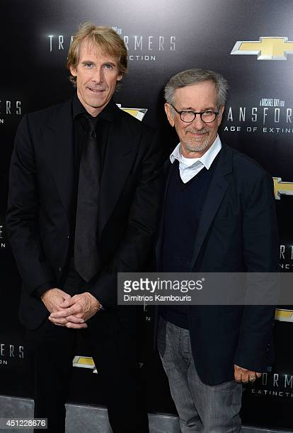 Director Michael Bay and producer Steven Spielberg attend the New York Premiere of Transformers Age Of Extinction at the Ziegfeld Theatre on June 25...