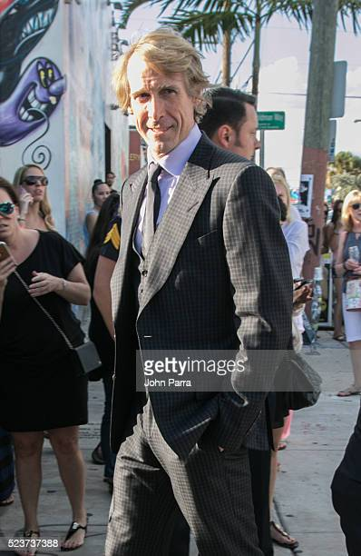 Director Michael Bay attends David Grutman's and model Isabela Rangel wedding in Wynwood Wall on April 23 2016 in Miami Florida