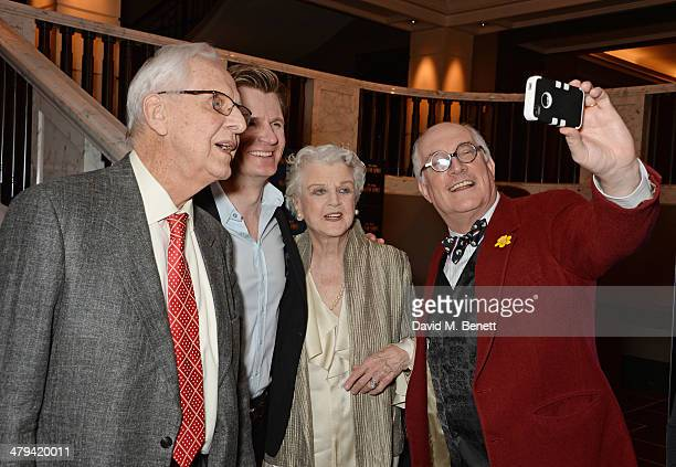 Director Michael Blakemore Charles Edwards Dame Angela Lansbury and Simon Jones take a selfie at an after party celebrating the press night...