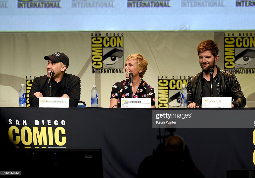 Director Michael Dougherty, actress Toni Colette and actor Adam Scott from 'Krampus' speak onstage at the Legendary Pictures panel during Comic-Con International 2015 the at the San Diego Convention Center on July 11, 2015 in San Diego, California.