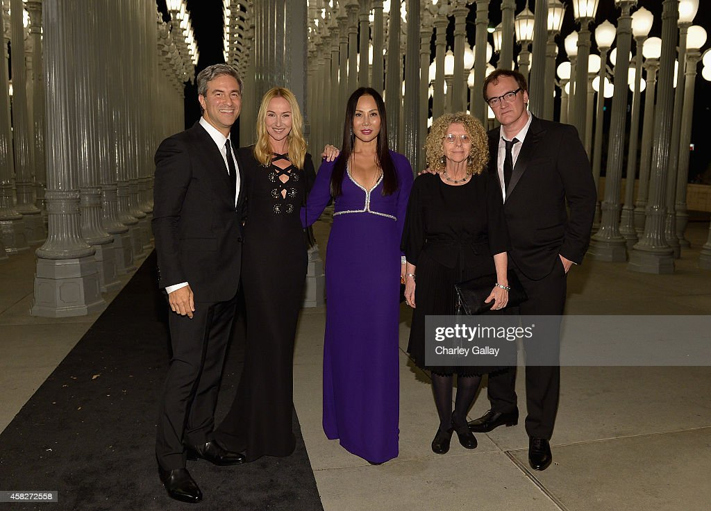 LACMA director Michael Govan, wearing Gucci,, creative director of Gucci Frida Giannini, LACMA trustee and Art + Film Gala co-chair Eva Chow, wearing Gucci, and honorees Barbara Kruger and Quentin Tarantino, wearing Gucci attend the 2014 LACMA Art + Film Gala honoring Barbara Kruger and Quentin Tarantino presented by Gucci at LACMA on November 1, 2014 in Los Angeles, California.