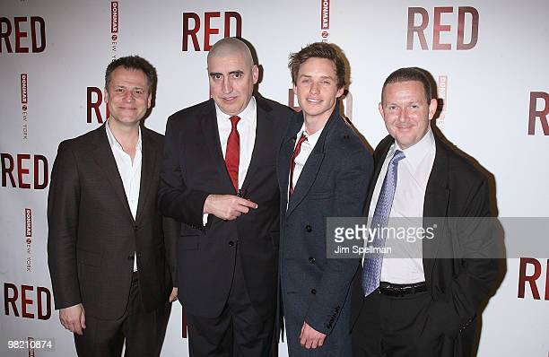 Director Michael Grandage Actors Alfred Molina and Eddie Redmayne and Playwright John Logan attend the opening night party for RED on Broadway at...