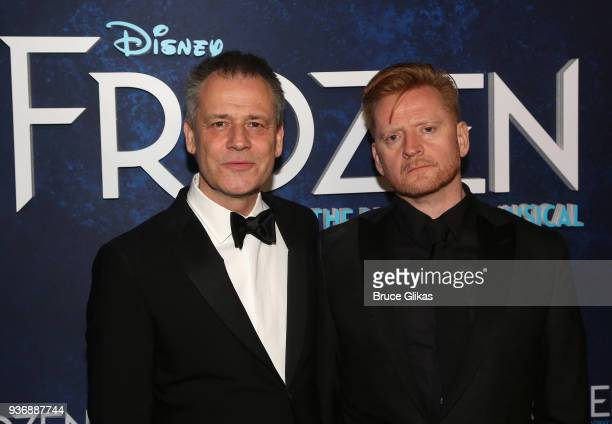 Director Michael Grandage and Set Designer Christopher Oram pose at the opening night after party for Disney's new hit musical Frozen on Broadway at...