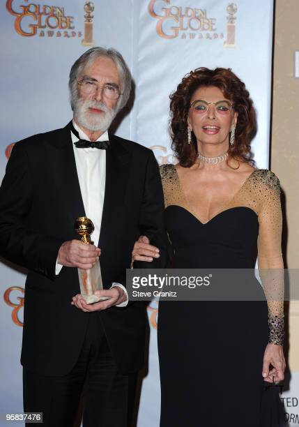 Director Michael Haneke and actress Sophia Loren pose in the press room at the 67th Annual Golden Globe Awards at The Beverly Hilton Hotel on January...