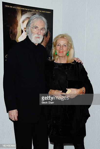 Director Michael Haneke and his wife set decorator Susanne Haneke arrive at the Sony Pictures Classics PreOscar Dinner at The London Hotel on...