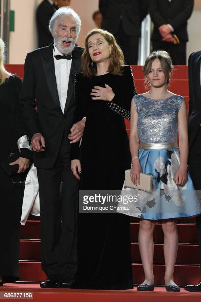Director Michael Haneke Isabelle Huppert and Fantine Harduin attend the 'Happy End' screening during the 70th annual Cannes Film Festival at Palais...