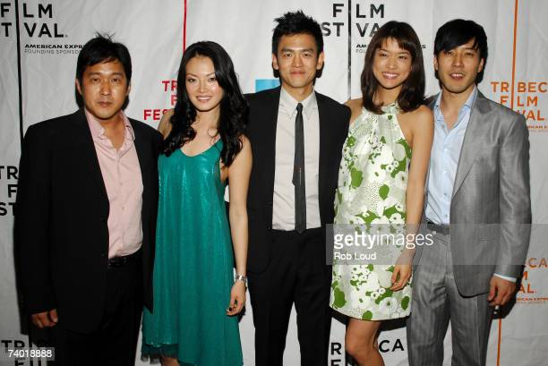 Director Michael Kang actress Jane Kim actor John Cho actress Grace Park and actor Junho Jeong arrive at the premiere of West 32nd at the 2007...