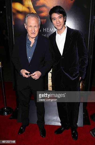 Director Michael Mann and actor Leehom Wang attend the premiere of Universal Pictures and Legendary Pictures' Blackhat at the TCL Chinese Theatre...