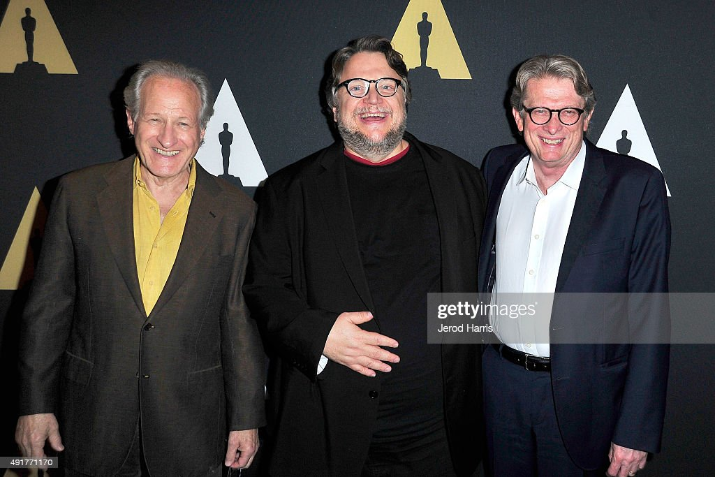 Director Michael Mann, director Guillermo Del Toro and director of the Academy Museum of Motion Pictures Kerry Brougher attend 'In The Labyrinth: A Conversation with Guillermo Del Toro' at Samuel Goldwyn Theater on October 7, 2015 in Beverly Hills, California.