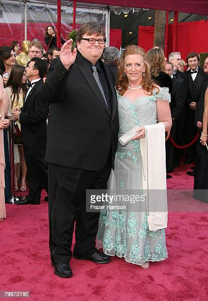 Director Michael Moore and his wife Kathleen Glynn arrive at the 80th Annual Academy Awards held at the Kodak Theatre on February 24 2008 in...