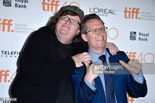 Director Michael Moore and TIFF Docs Programmer Thom Powers attend the 'Where To Invade Next' premiere during the 2015 Toronto International Film...