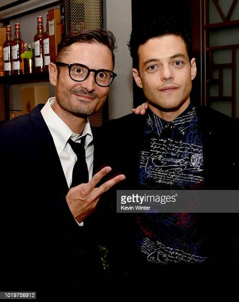 Actor Rami Malek and director Michael Noer pose at the after party for the premiere of Bleeker Street Media's 'Papillon' at The London Hotel on...