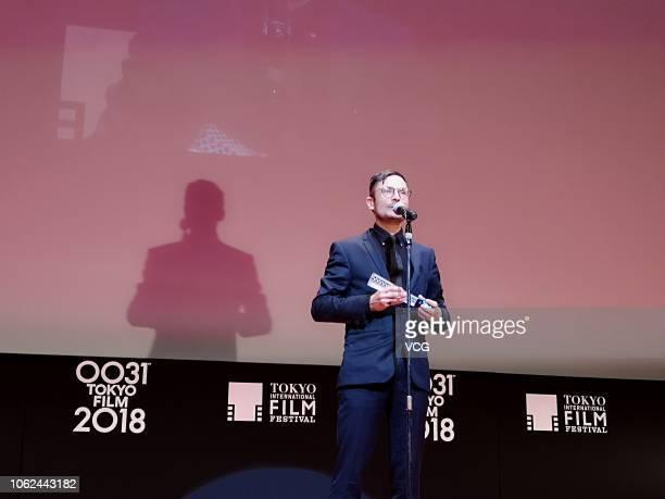 Director Michael Noer of Denmark attends the closing ceremony of the 31st Tokyo International Film Festival on November 2 2018 in Tokyo Japan