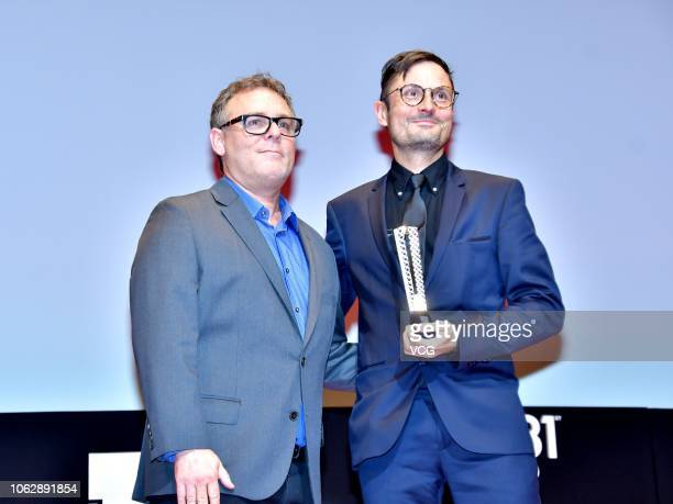 Director Michael Noer of Denmark poses with trophy during the closing ceremony of the 31st Tokyo International Film Festival on November 2 2018 in...
