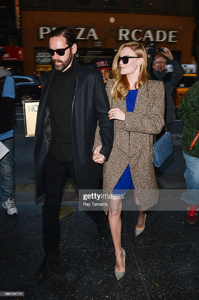 Director Michael Polish (L) and actress Kate Bosworth enter the 'Today Show' taping at the NBC Rockefeller Center Studios on October 28, 2013 in New York City.