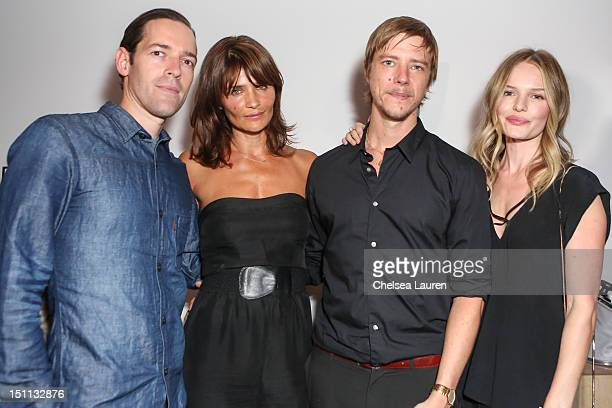 Director Michael Polish model Helena Christensen musician Paul Banks and actress Kate Bosworth attend the listening party for Paul Banks' album...