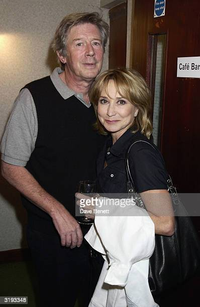 Director Michael Rudman with wife actress Felicity Kendal help Model Jerry Hall celebrate her first night of the new play 'Benchmark' at the New End...