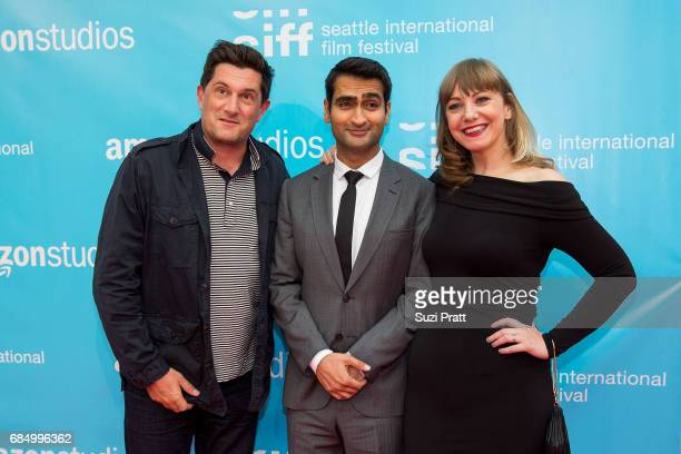 Director Michael Showalter actor Kumail Nanjiani and writer Emily V Gordon pose for a photo at the opening night gala of the Seattle International...