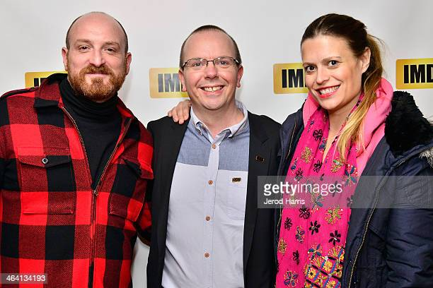 Director Michael Suscy IMDb founder and CEO Col Needham and screenwriter Marianna Palka attend the IMDb Sundance dinner party at the Mustang on...