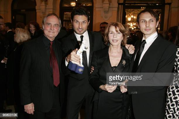 Director Michael Verhoeven and son director Simon Verhoeven and mother actress Senta Berger and son Luca Verhoeven attend the afterparty of the...
