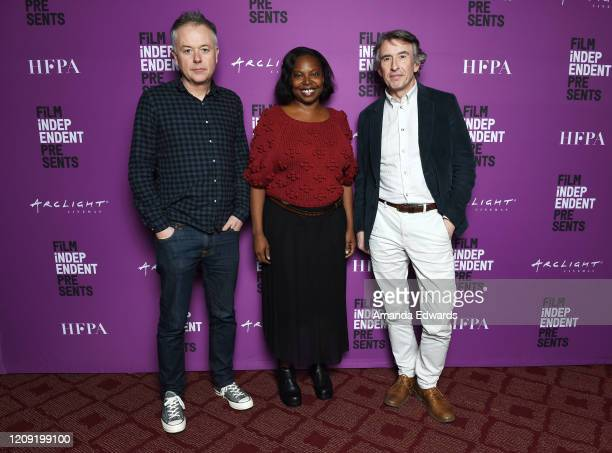 Director Michael Winterbottom Film Independent Artistic Director Jacqueline Lyanga and actor Steve Coogan attends the Film Independent Screening...