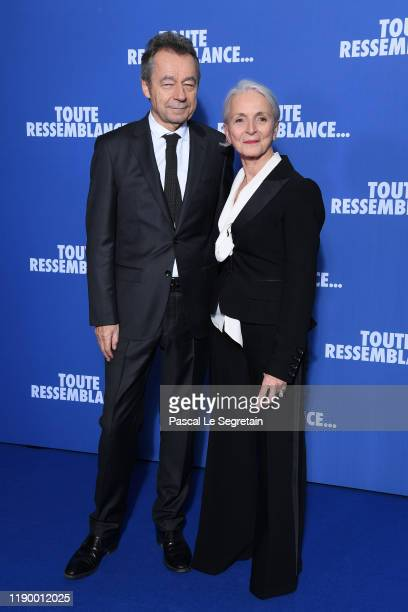 Director Michel Denisot and his wife Martine Patier attend the Toute Ressemblance photocall At UGC Cine Cite Les Halles on November 25 2019 in Paris...