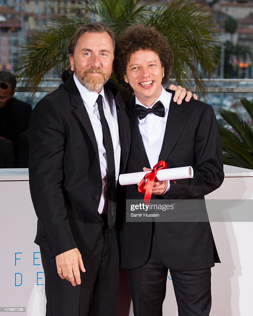 Director Michel Franco (R), winner of the Best Screenplay Prize for his film 'Chronic' poses with actor Tim Roth attends a photocall for the winners of the Palm D'Or during the 68th annual Cannes Film Festival on May 24, 2015 in Cannes, France.
