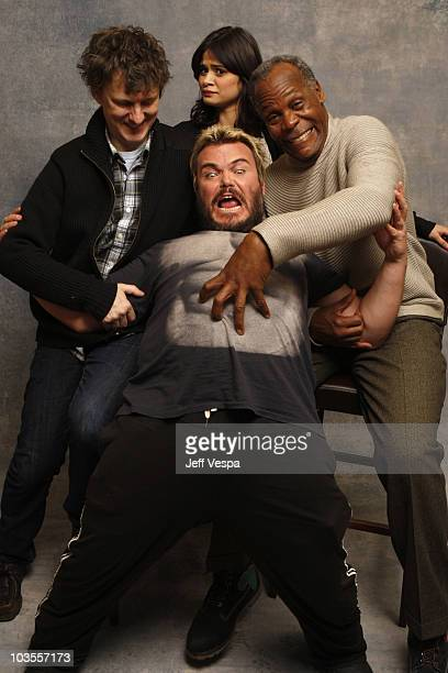 Director Michel Gondry Actress Melonie Diaz Actor Jack Black and Actor Danny Glover at the Sky 360 by Delta Lounge WireImage Portrait Studio on...