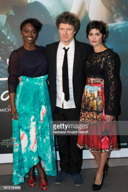 Director Michel Gondry poses with actresses Aissa Maiga and Audrey Tautou during the premiere of Gondry's film 'L'Ecume Des Jours' at Cinema UGC...