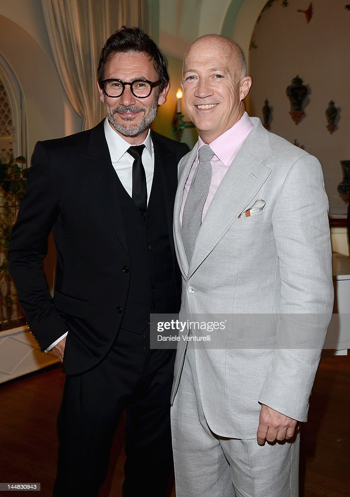 Director Michel Hazanavicius (L) attends the Vanity Fair and Gucci Party at Hotel Du Cap during 65th Annual Cannes Film Festival on May 19, 2012 in Antibes, France.