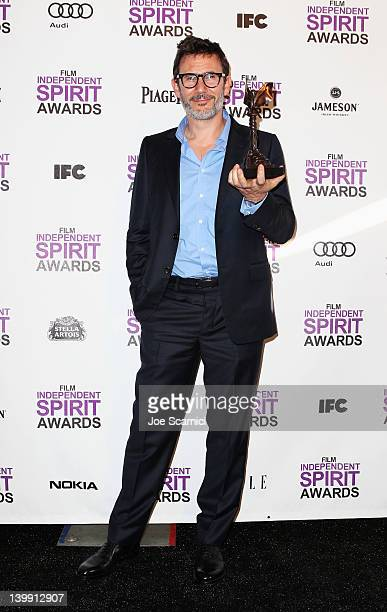 Director Michel Hazanavicius poses with Best Feature Award for 'The Artist' in the press room at the 2012 Film Independent Spirit Awards at Santa...