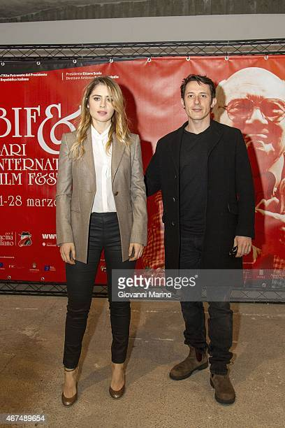 Director Michele Alhaique and actress Greta Scarano attend 'Senza Nessuna Piet' photocall during Bifest 2015 on March 25 2015 in Bari Italy