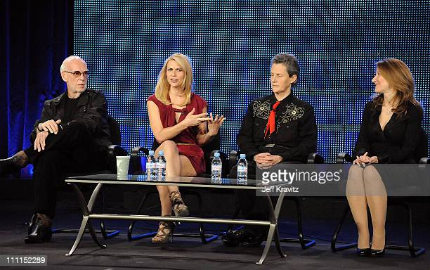 """Director Mick Jackson, actress Claire Danes, Dr. Temple Grandin, and executive producer Emily Gerson Saines of """"Temple Grandin"""" speak during the HBO..."""