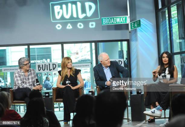 Director Miguel Arteta actors Connie Britton John Lithgow and Salma Hayek attend Build to discuss 'Beatriz At Dinner' at Build Studio on June 7 2017...