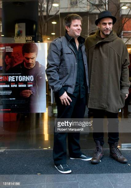 Director Miguel Cohan and actor Leonardo Sbaraglia attend a photocall for their latest film 'Sin Retorno' at the Renoir Cine Floridablanca on...