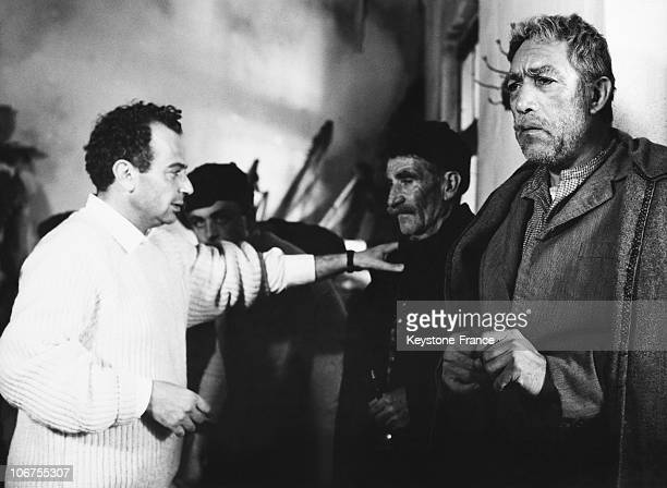 Director Mihalis Kakogiannis with actor Anthony Quinn During The Filming Of Zorba The Greek 1964