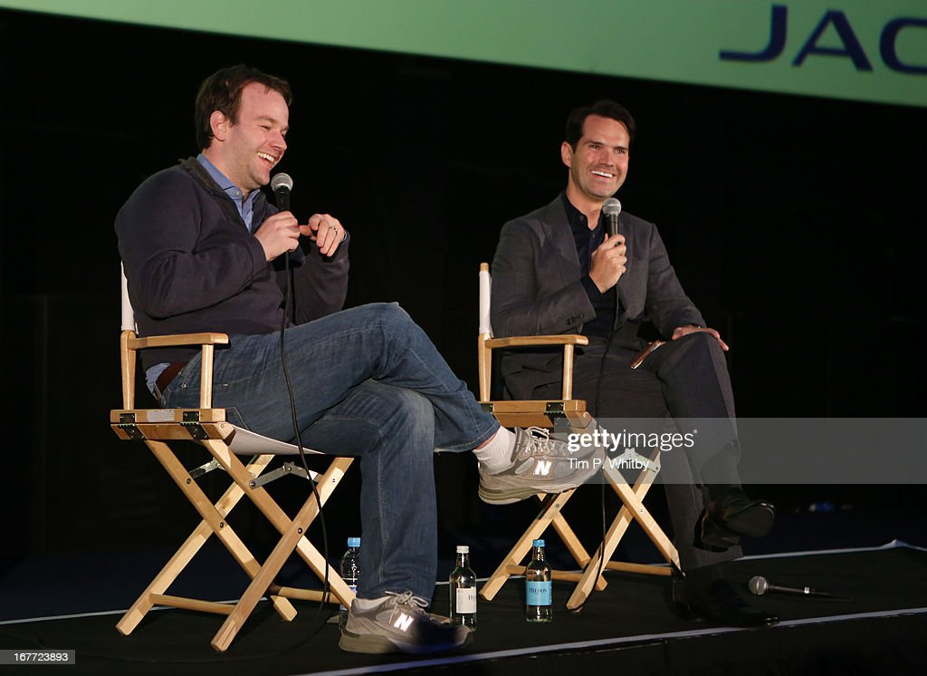 Director Mike Birbiglia and Jimmy Carr speak at the 'Sleepwalk With Me' screening during the Sundance London Film And Music Festival 2013 at Sky Superscreen O2 on April 28, 2013 in London, England.