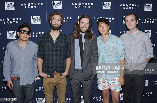 Director Mike Cahill and musicians Rostam Batmanglij Chris Tomson Ezra Koenig and Christopher Baio of Vampire Weekend attend the Another Earth...