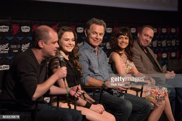 Director Mike Flanagan actors Chiara Aurelia Bruce Greenwood Carla Gugino and producer Trevor Macy at the Netflix Films Gerald's Game Premiere at...