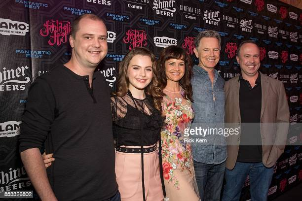 Director Mike Flanagan actors Chiara Aurelia Carla Gugino Bruce Greenwood and producer Trevor Macy at the Netflix Films Gerald's Game Premiere at...